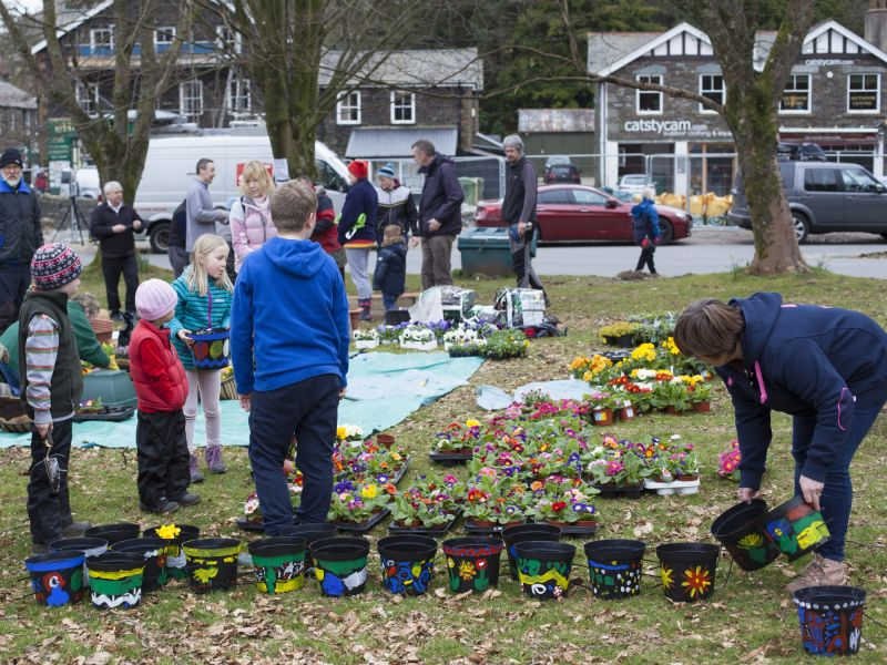 Children rescue plants in Glenridding floods, Cumbria 2015