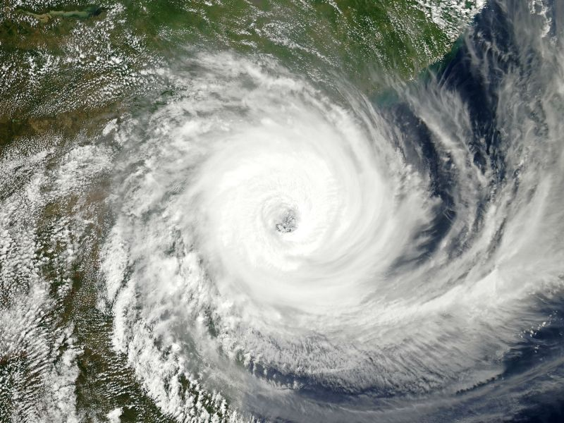 Cyclone Idai over the eastern coast of Mozambique