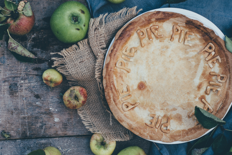 Vegan apple and fig pie made with vegetarian suet pastry