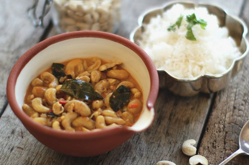 Hari Ghotra's vegetarian cashew nut Indian curry with rice