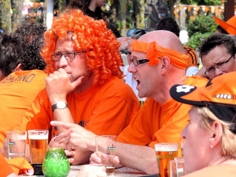 Dutch football fan wearing a wig