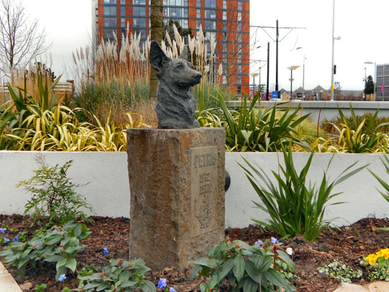 The Blue Peter Garden containing a statue of Petra, the first Blue Peter pet