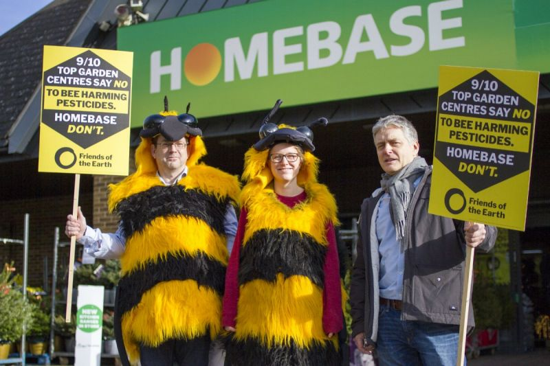 Giant bees outside Homebase before new policy was announced