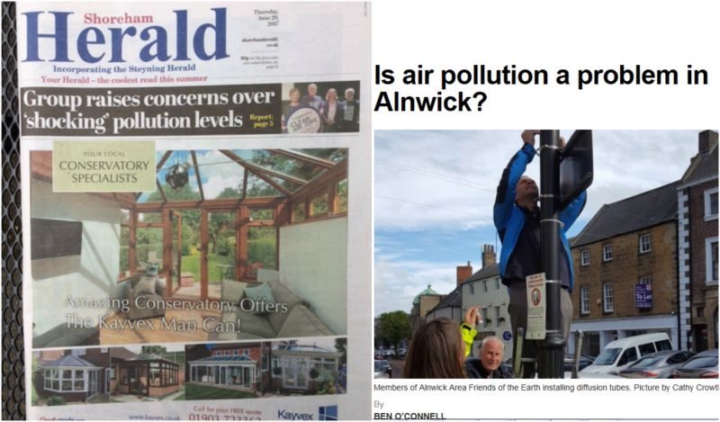 Clean Air Week of Action Media stories Alnwick and Shoreham