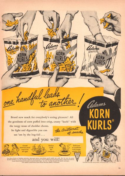 A 1950s advert for a snack called Korn Kurls showing 3 transparent plastic packets and hands dipping in.