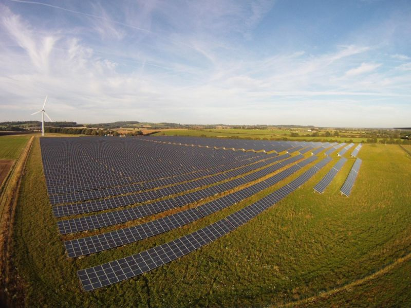 An aerial photo of Westmill Wind Farm and Westmill Solar Co-operative