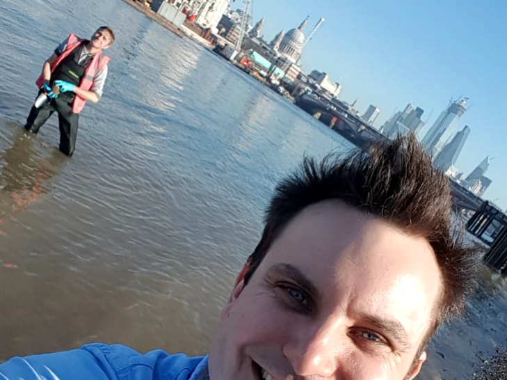 Plastics campaigner Julian Kirby testing for microplastics in the River Thames with Dr Christian Dunn of Bangor University