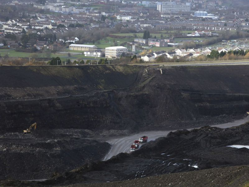 Opencast mining is carried out on the surface (Merthyr Tydfil in South Wales)