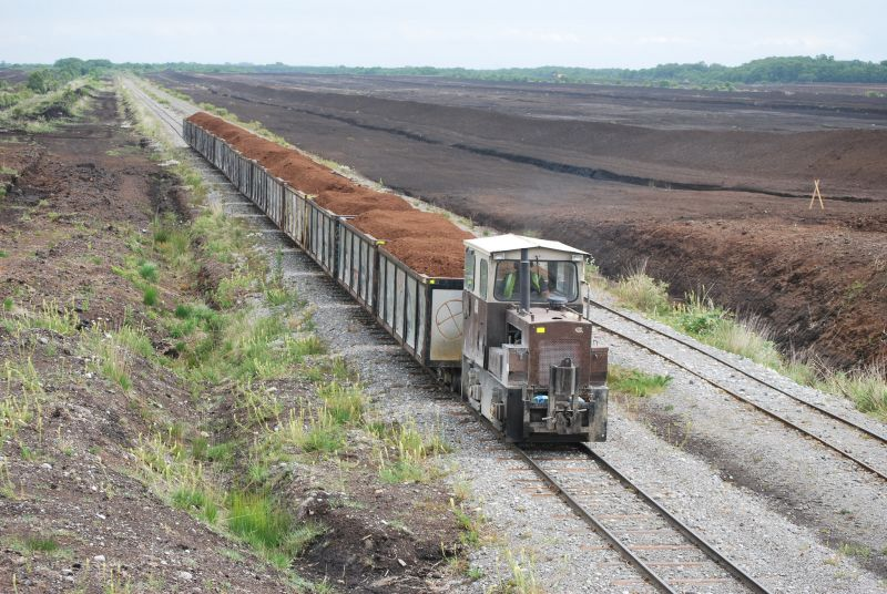 photo of train carrying harvested peat, Edenderry, Co. Offaly, Ireland