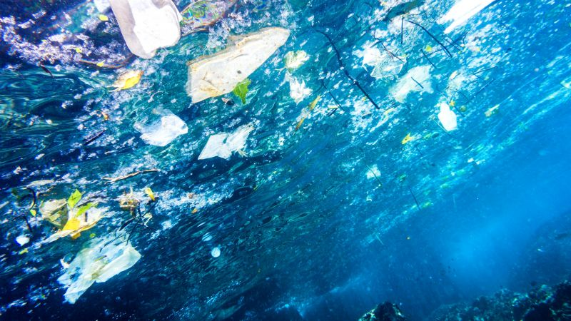 Underwater image of plastic pollution in the ocean