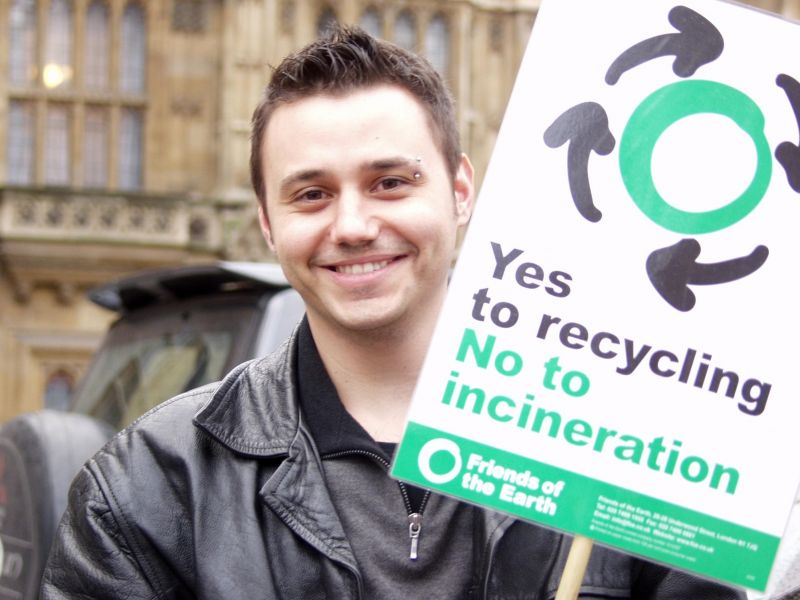 Recycling campaigner with Friends of the Earth