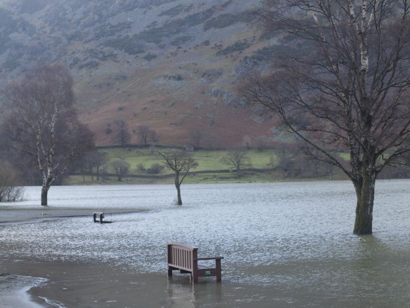 Submerged landscape after 2015 floods Glenridding Cumbria