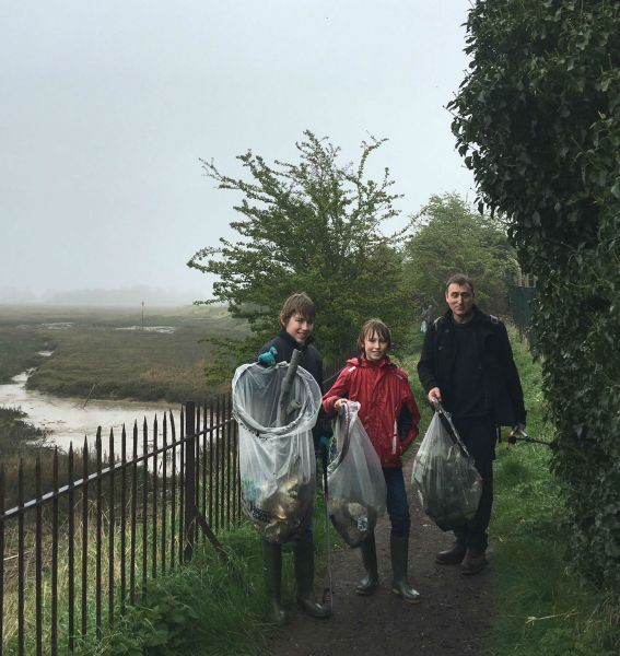 Swale Friends of the Earth volunteers after their litter pick in the rain