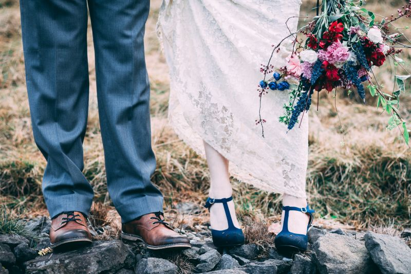 Wedding couple - trousers dress and flowers