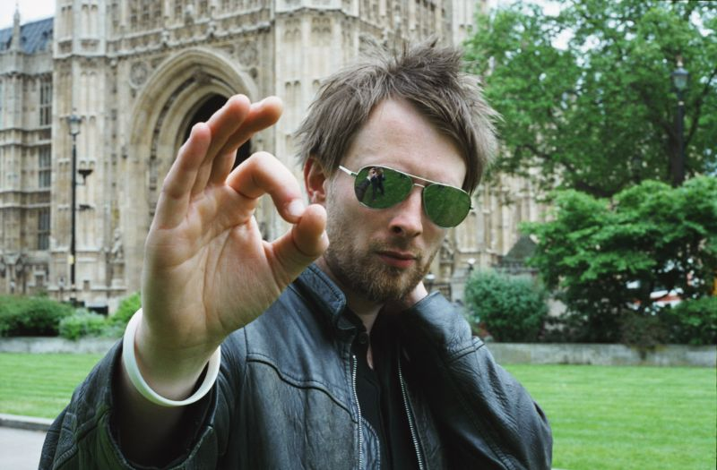 Thom Yorke outside parliament