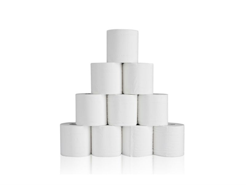 A wall of white toilet paper rolls
