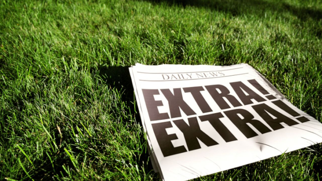 Newspaper with 'Extra Extra' headline