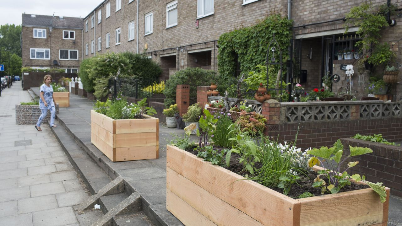 Planter boxes lining a street in front of terrace housing in Hackney, London