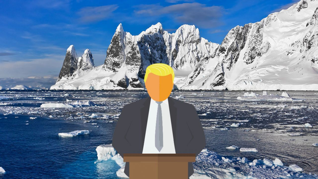 Illustrative depiction of Trump against an iceberg background