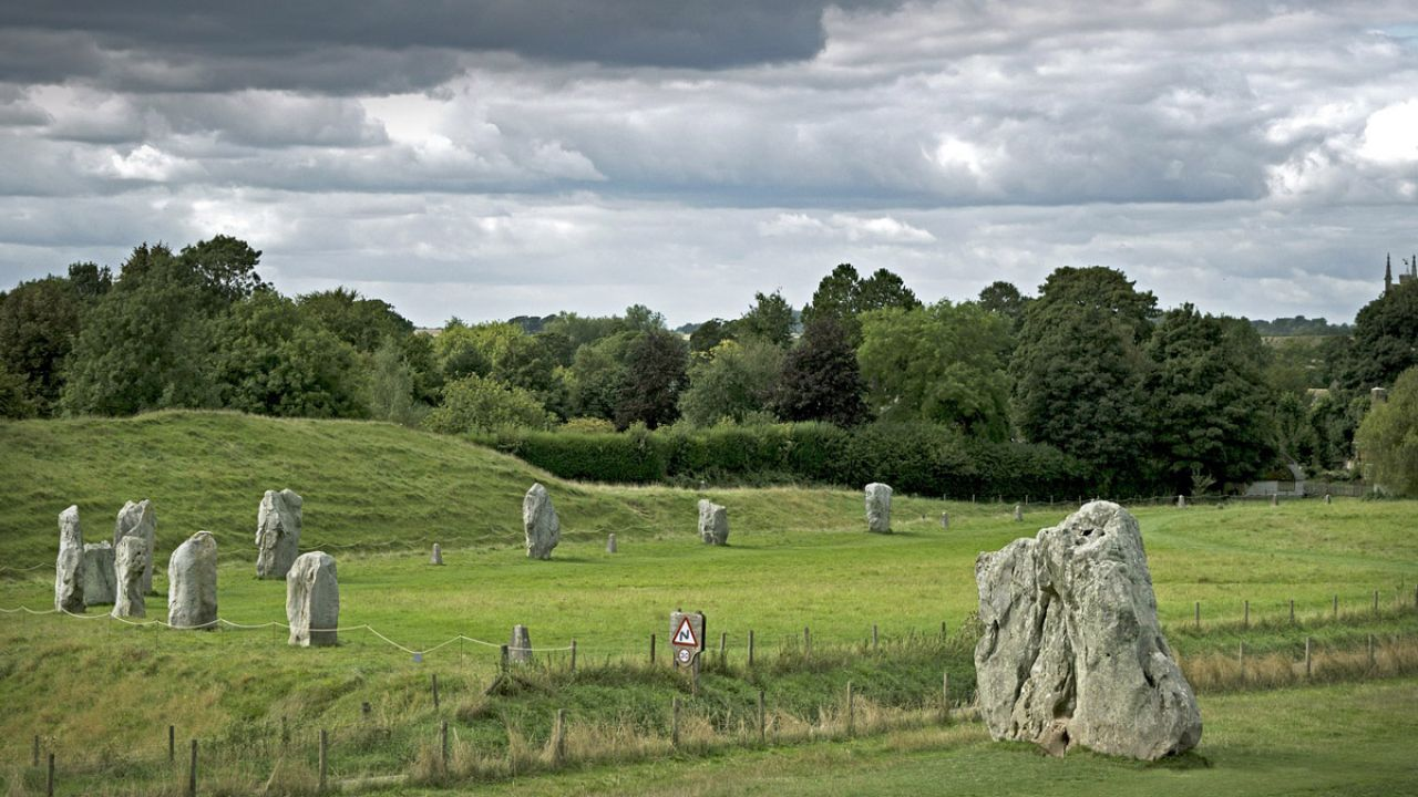 Wider ancient stone circle in field at village of Avebury