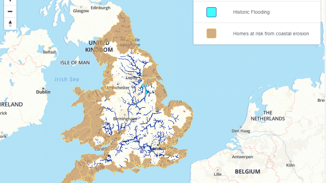Flooding map of England and Wales