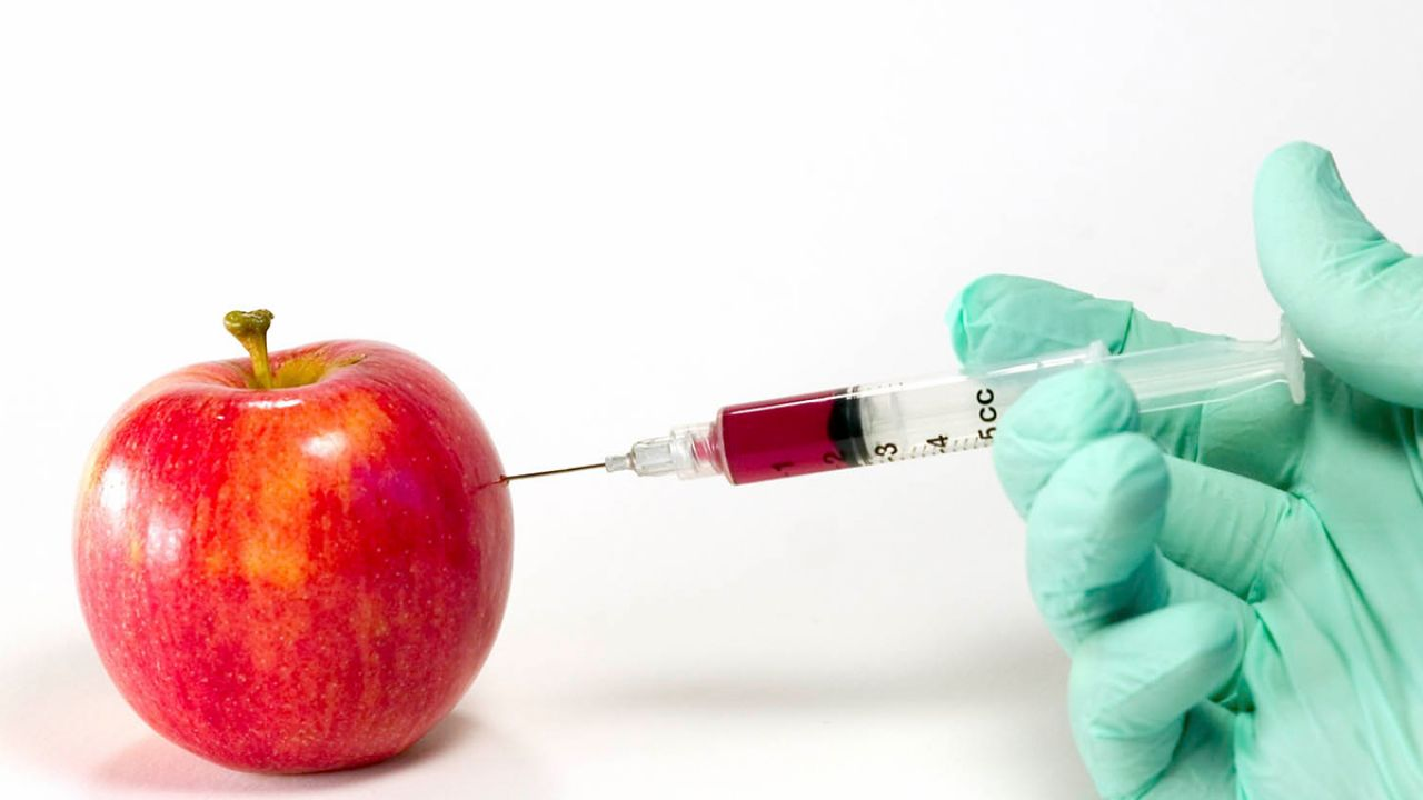 GM fruit? Gloved hand injects an apple with a substance in a syringe