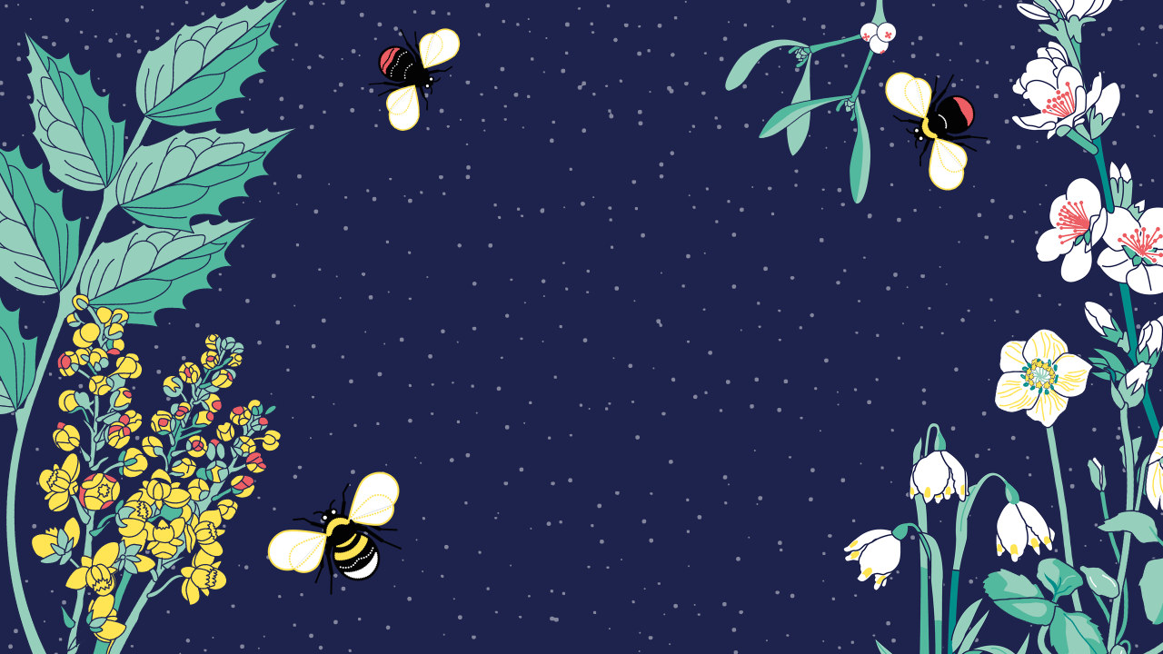 A background illustration of bees in flight