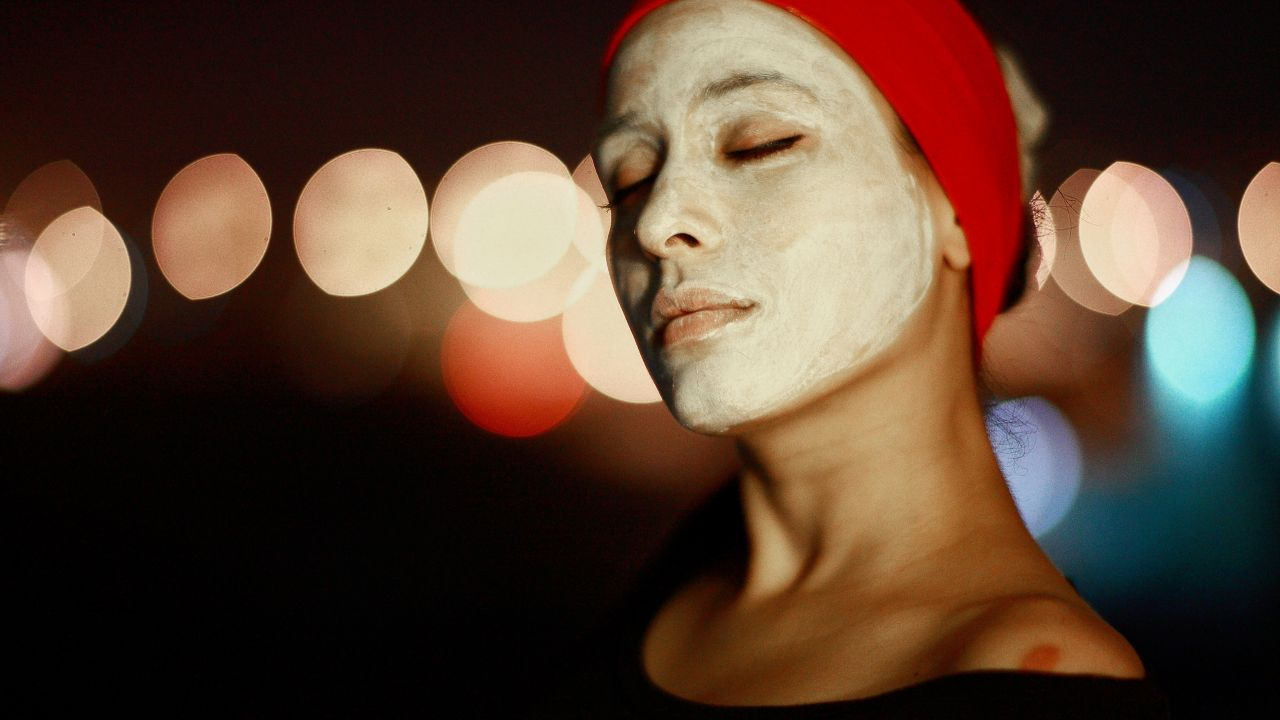 photo of woman with face pack