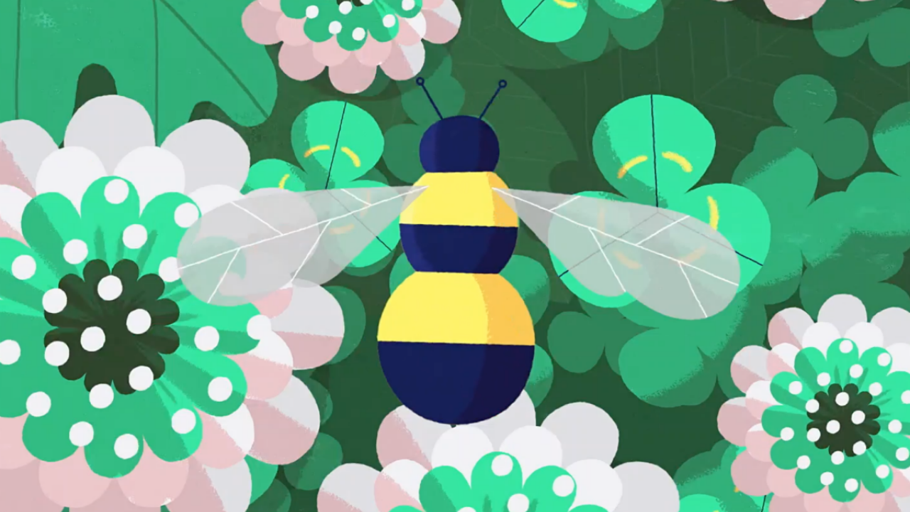 An illustration of a bee and flowers