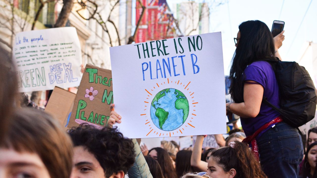 Placard reading 'There is on Planet B' in a crowd of people at a protest