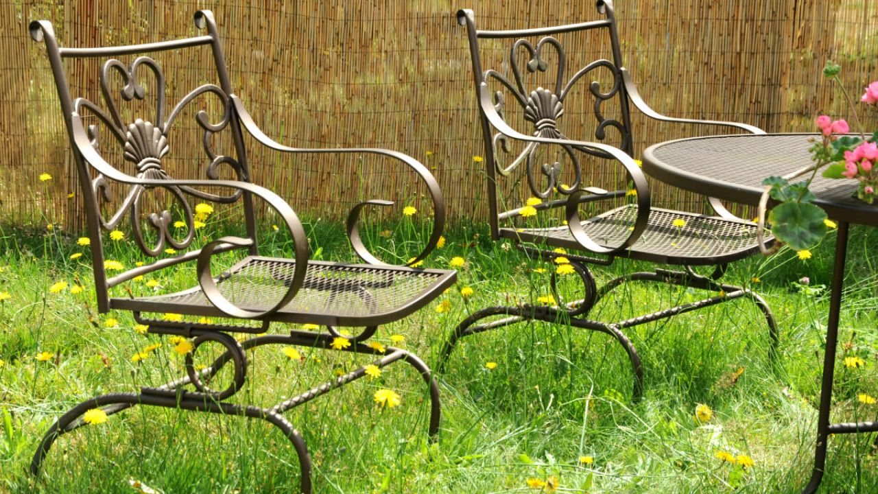 Garden furniture in an overgrown lawn