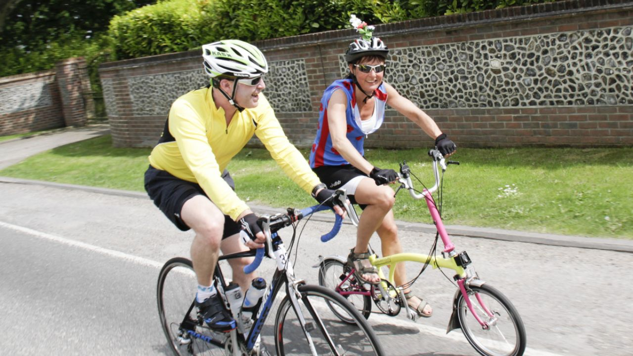 Two cyclists taking part in a Friends of the Earth fundraising cycle from London to the New Forest , 2014
