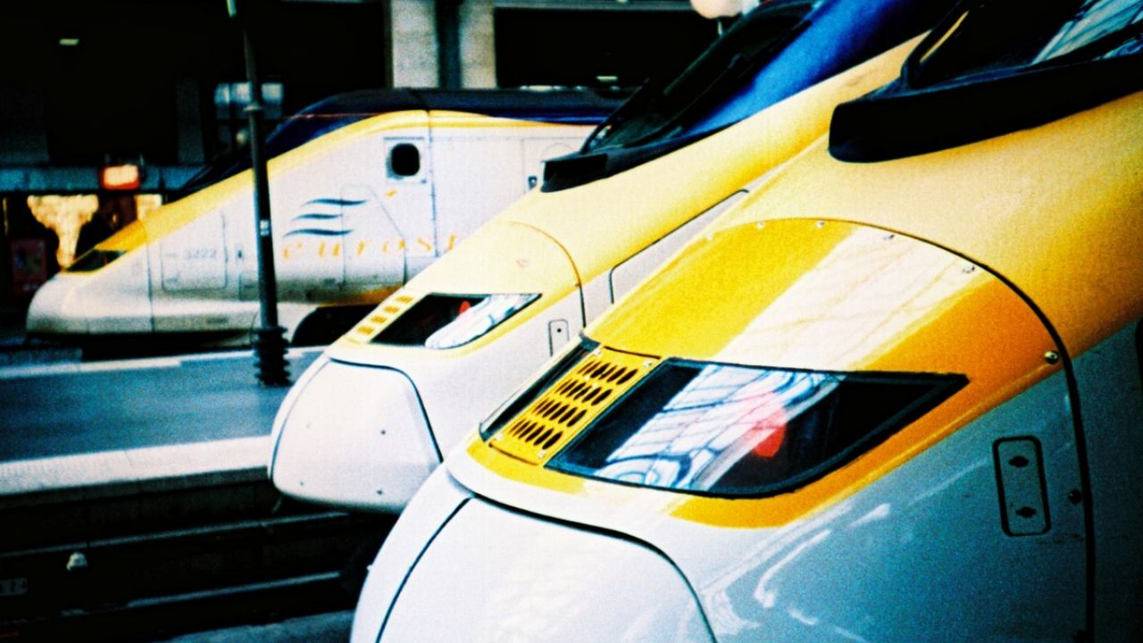 The front of three Eurostar trains