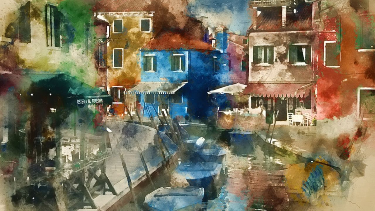 A watercolour painting of a canal in Venice