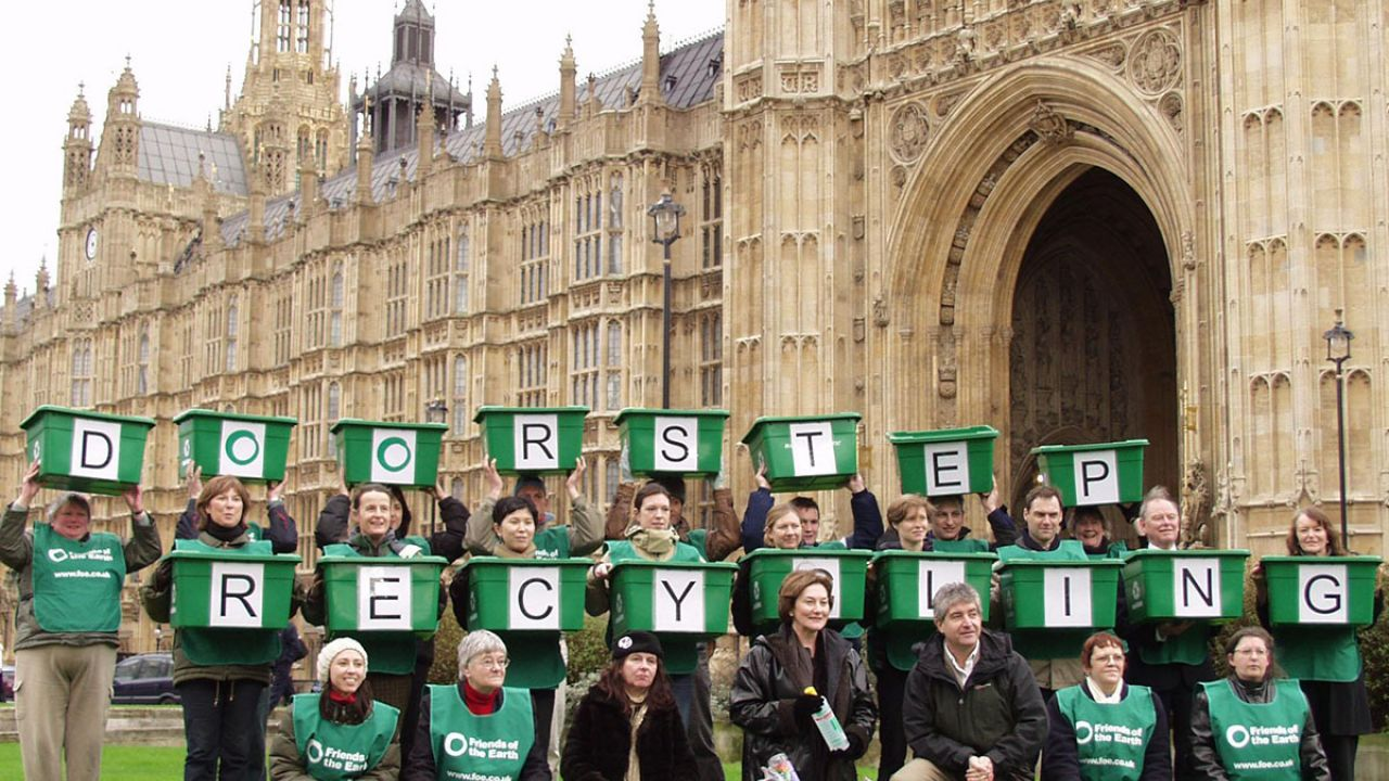 Friends of the Earth Household recycling for all action at parliament