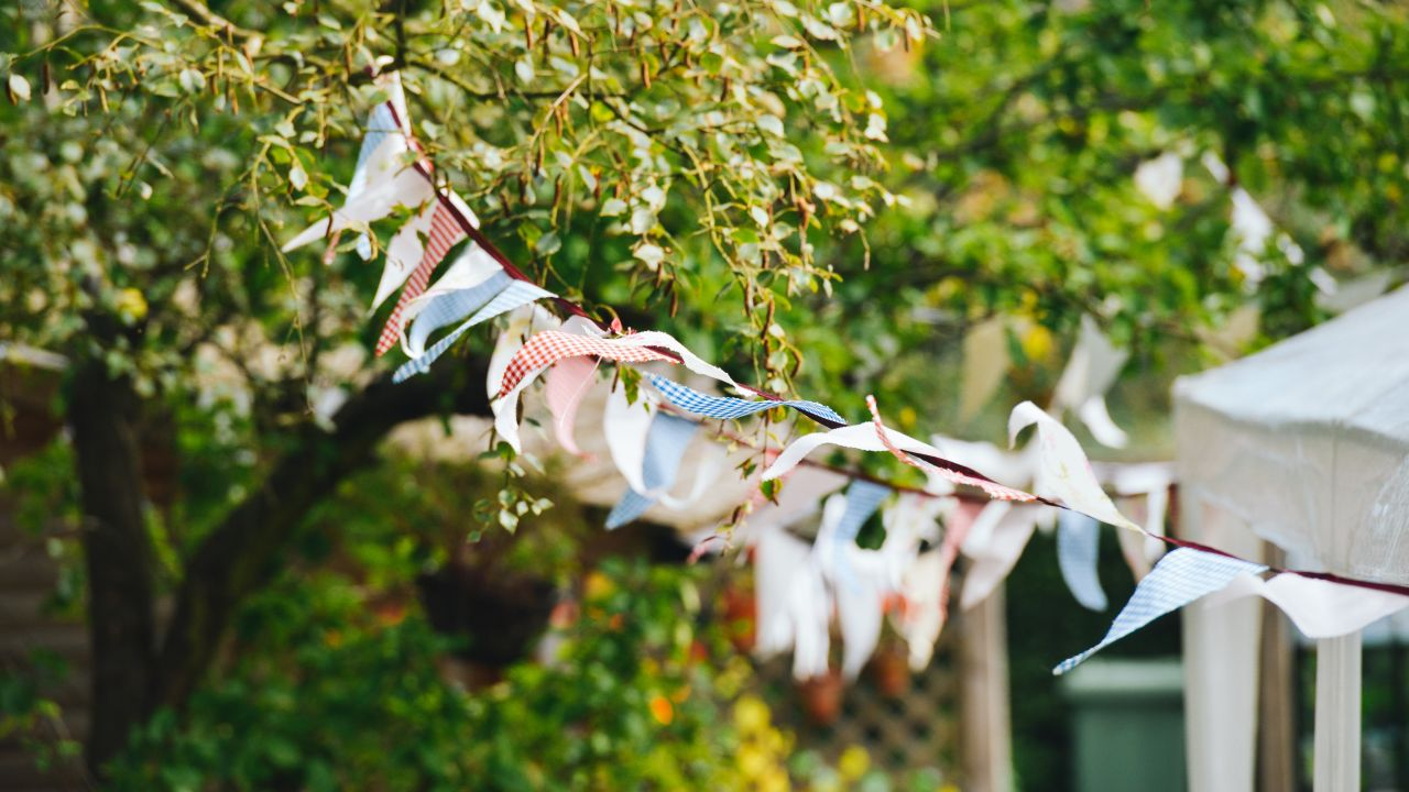 Plastic free summer party outdoors with bunting