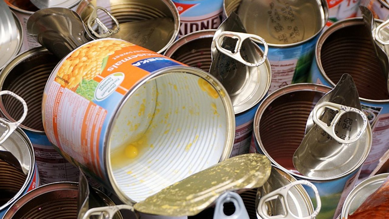 Empty food cans ready for landfill or recycling