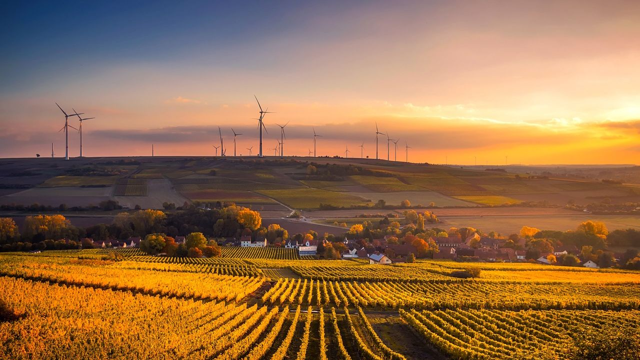 photo of wind turbines and farmland in Germany