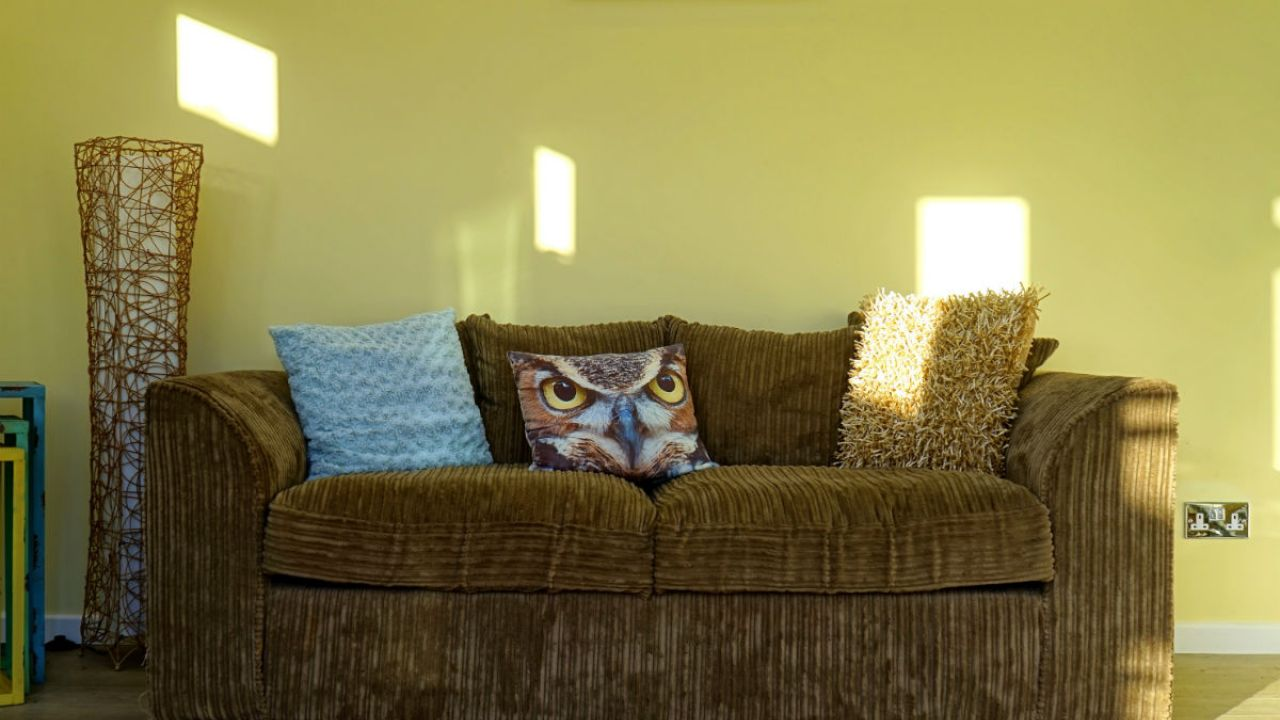 Yellow-painted living room with brown sofa