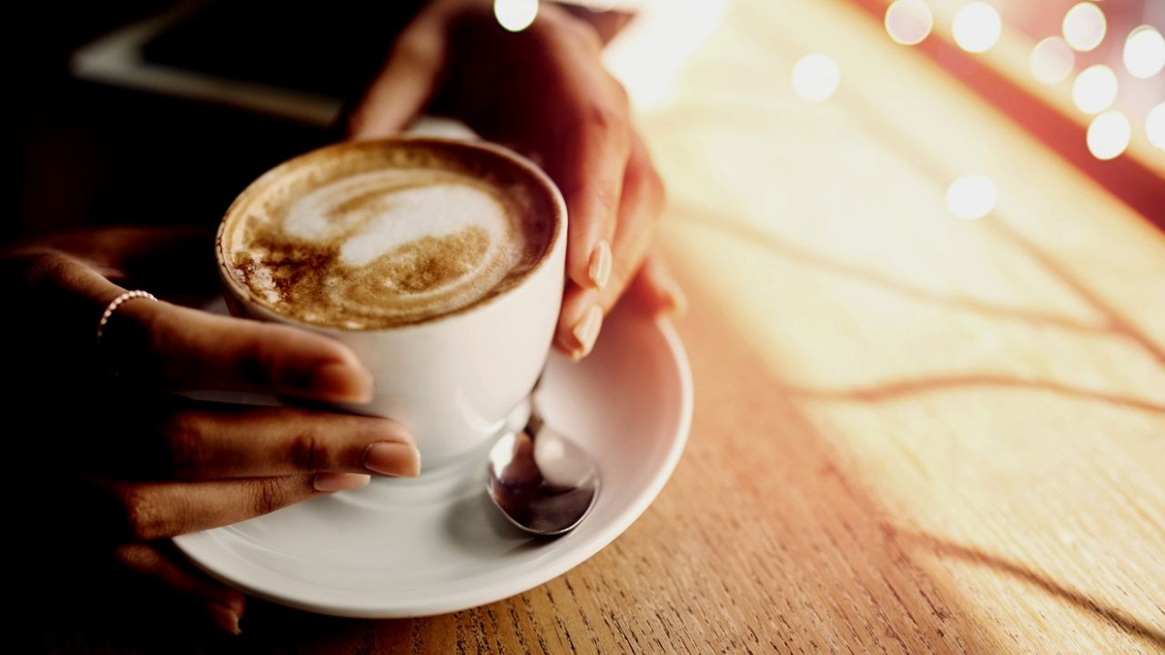 photo of hands holding ceramic coffee cup