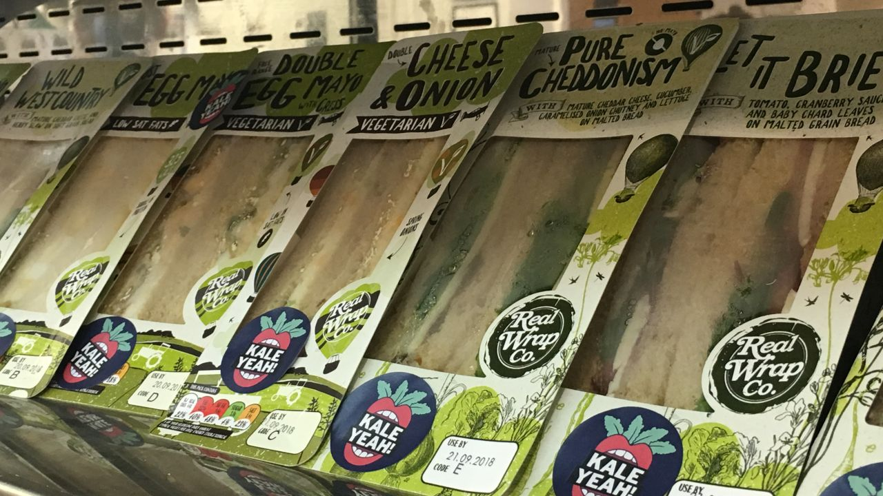 Close-up of Kale Yeah! vegetarian and vegan sandwiches for students on shop shelf