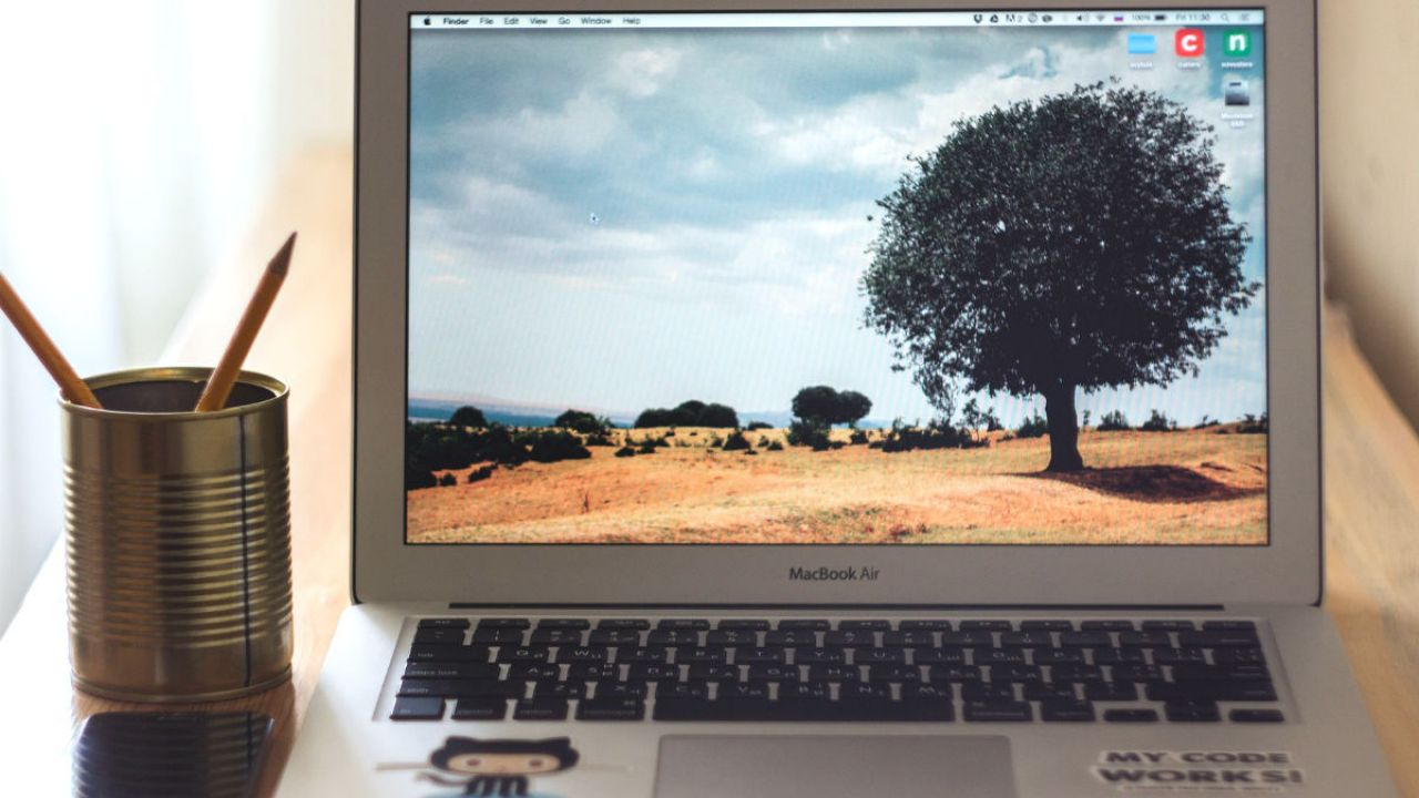 A laptop with a tree screensaver
