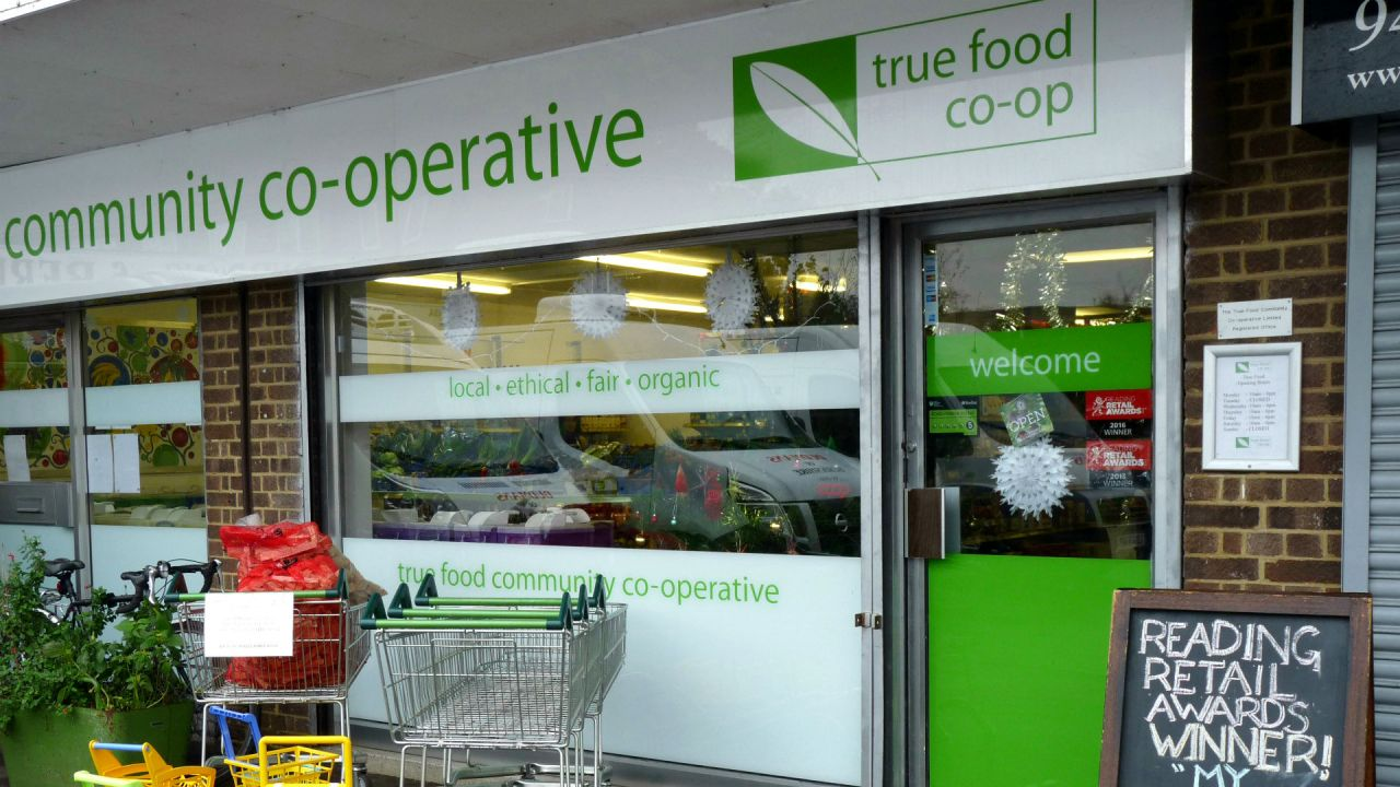 The shop front of a business that supplies local and organic produce
