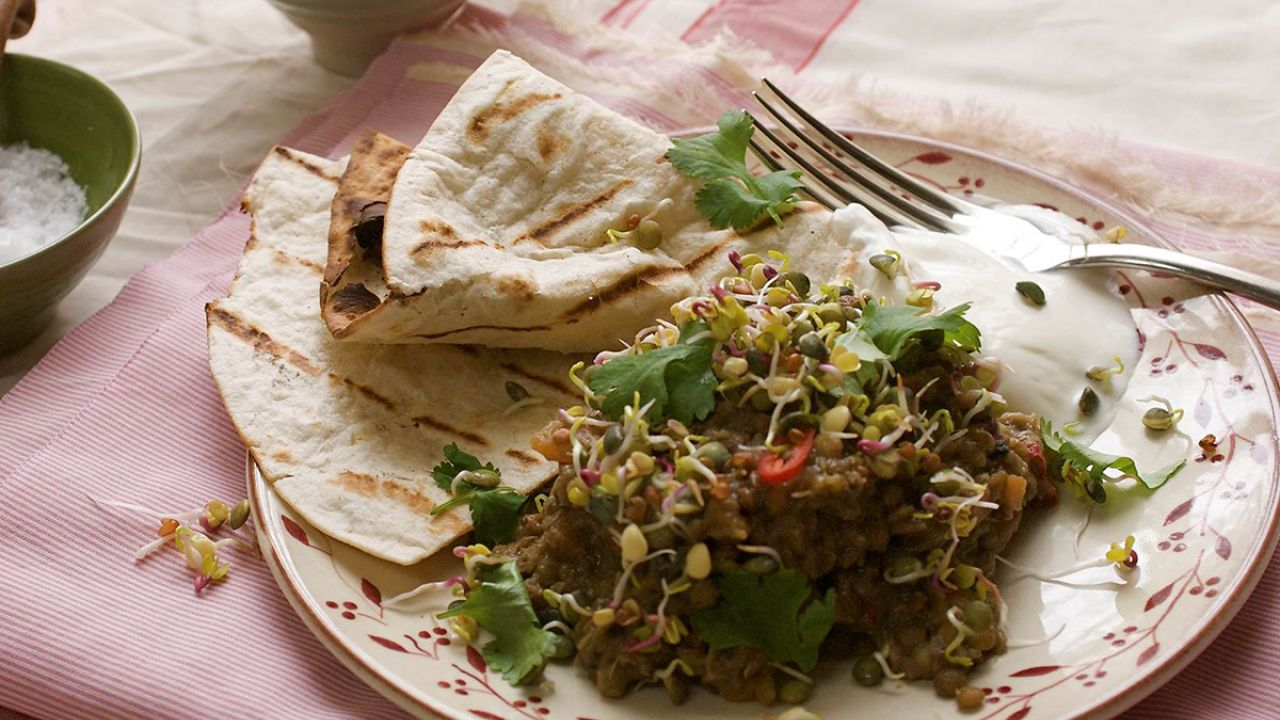 Rhubarb vegetarian curry with Indian flatbread