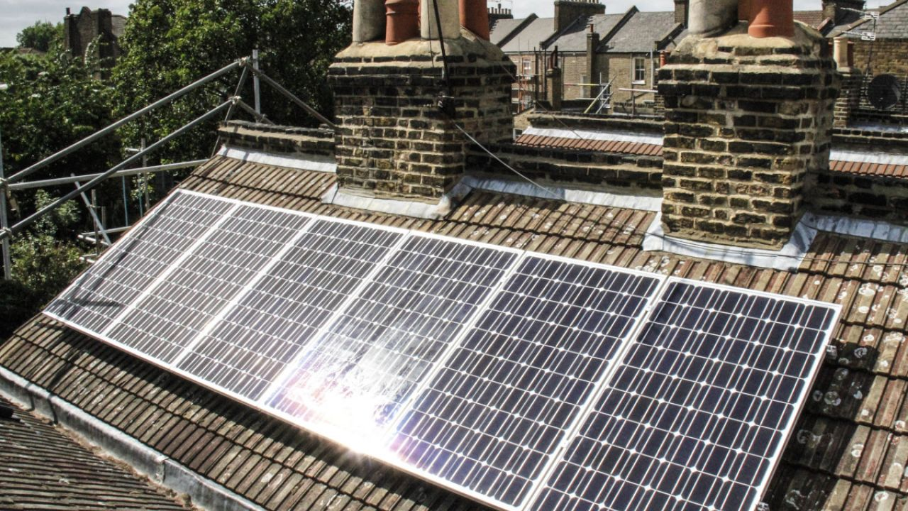 Solar PV instalation (for electricity) North London, UK, 2011.