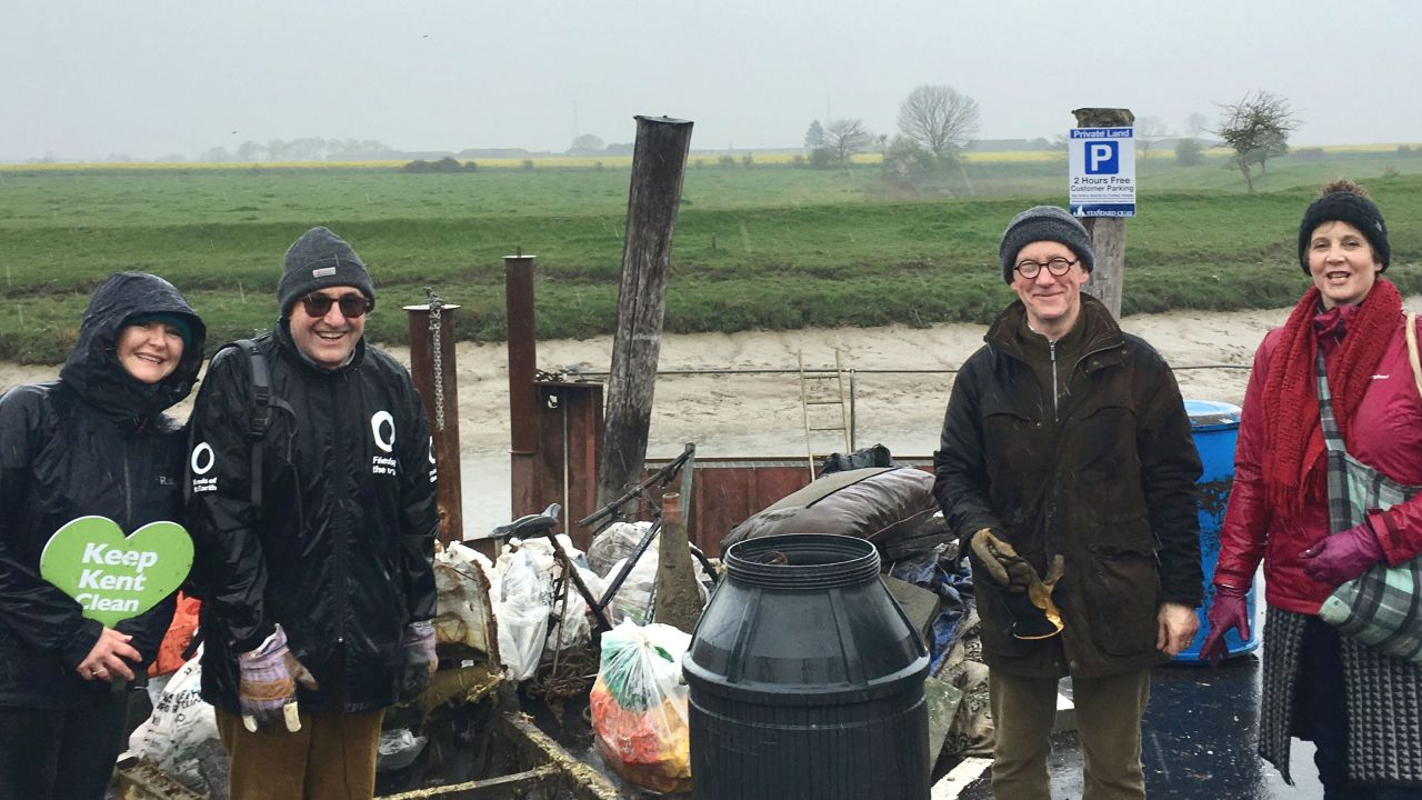 Swale Friends of the Earth volunteers after collecting plastic waste