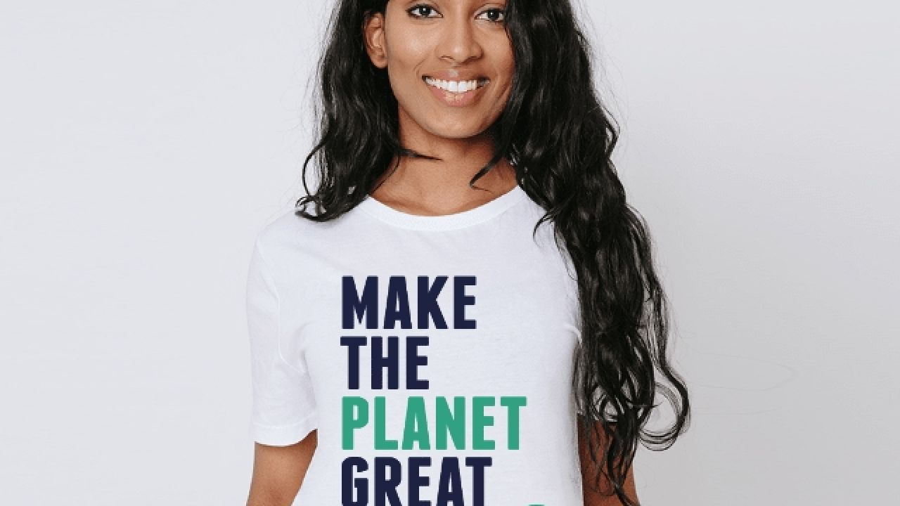 photo of model wearing Make the planet great again tee-shirt