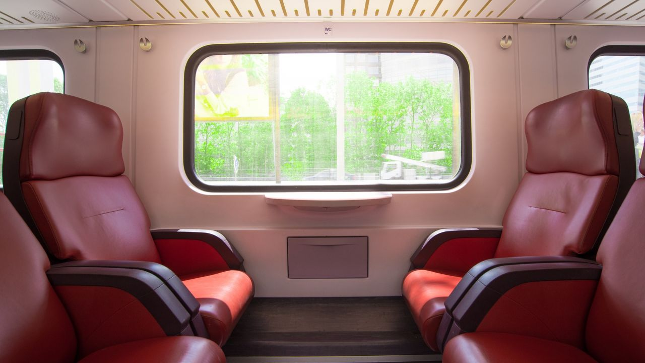 Inside an empty train carriage