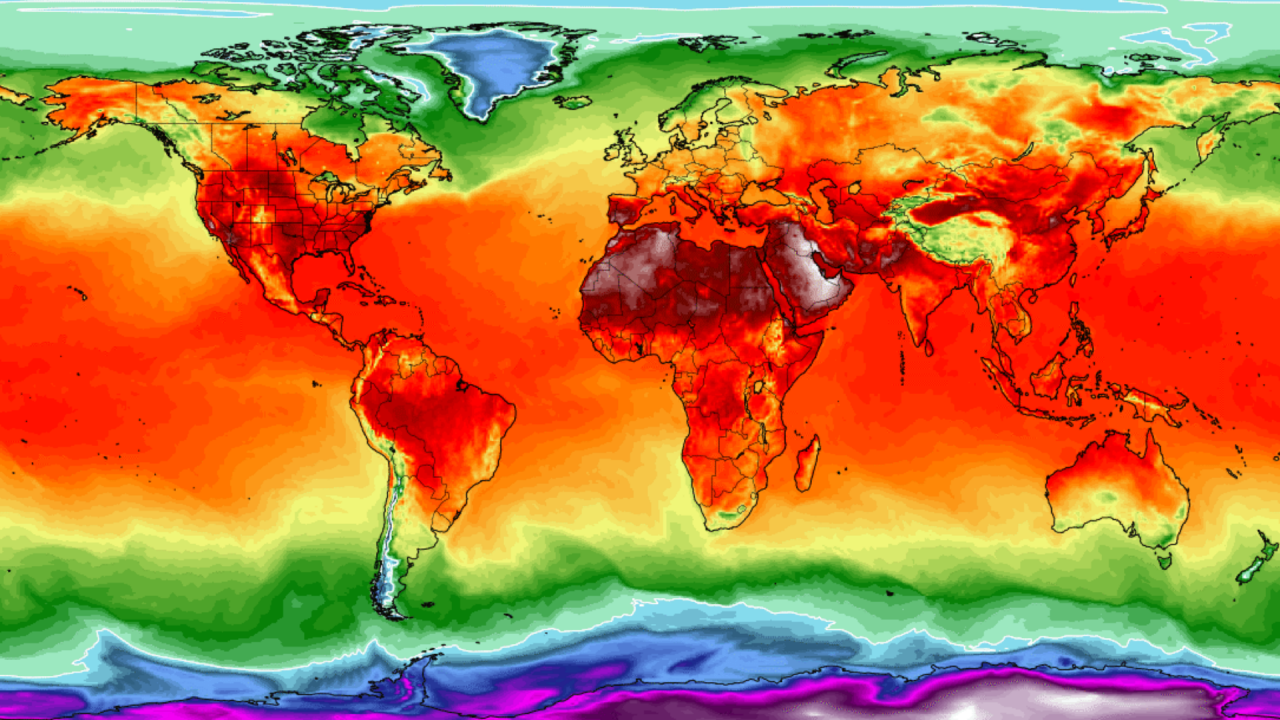 A graphic of the world map depicting temperature ranging from deep red to cold blue.