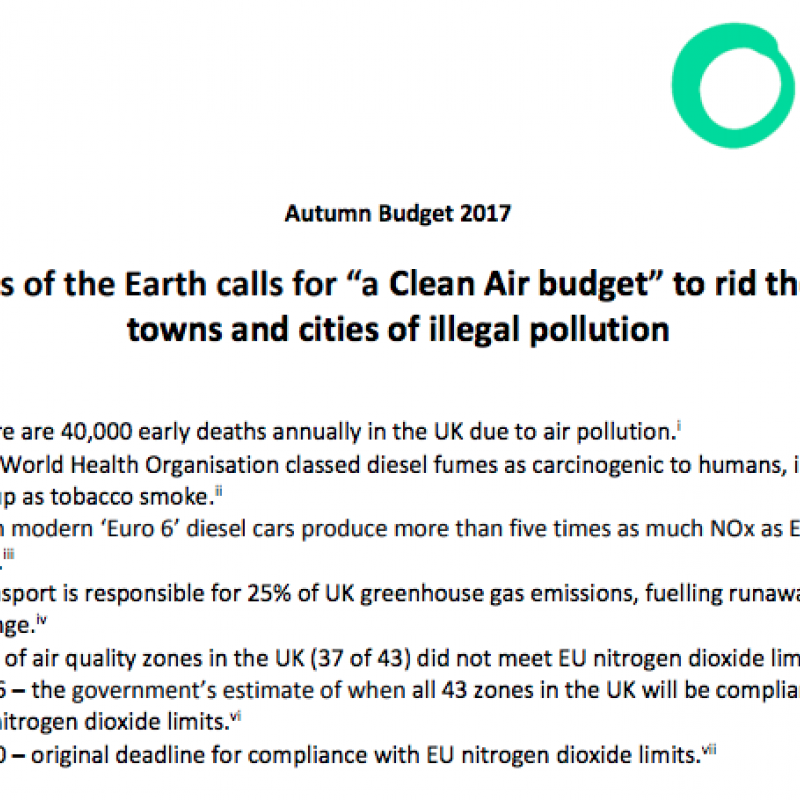 "Screenshot of report called Friends of the Earth calls for ""a Clean Air budget"" to rid the UK's towns and cities of illegal pollution"